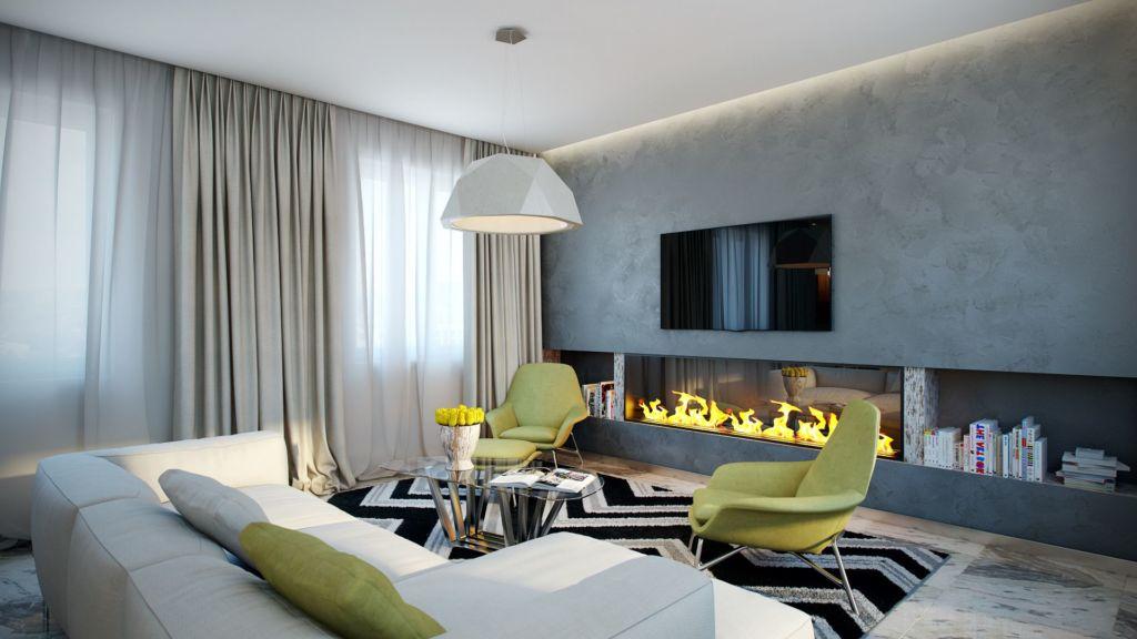 Общая стилистическое назначение комнаты влияет на особенности размещения телевизора и камина