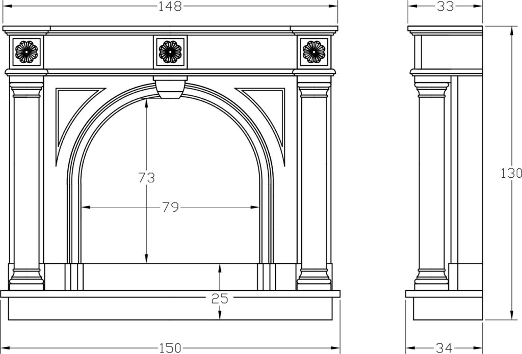 Вариант чертежа каминного портала
