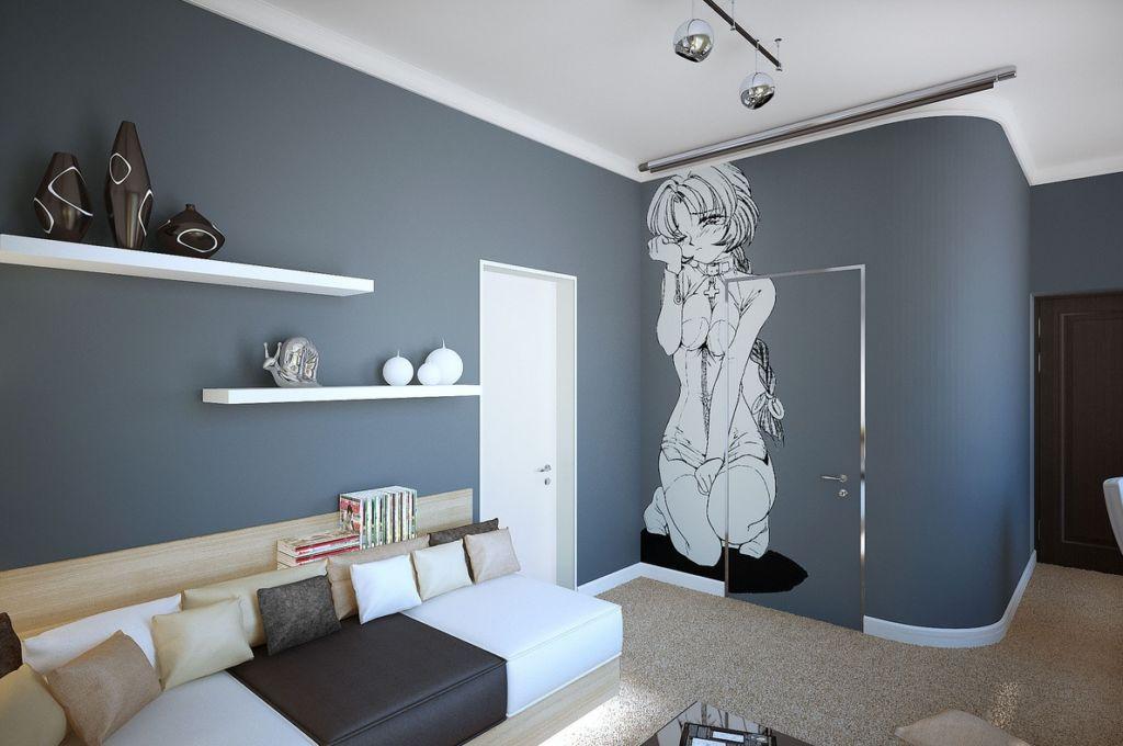 Белый потолок в комнате подростка