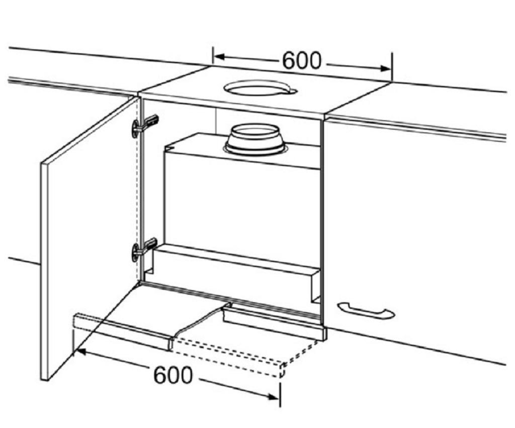 Схема встраивания вытяжки в шкаф