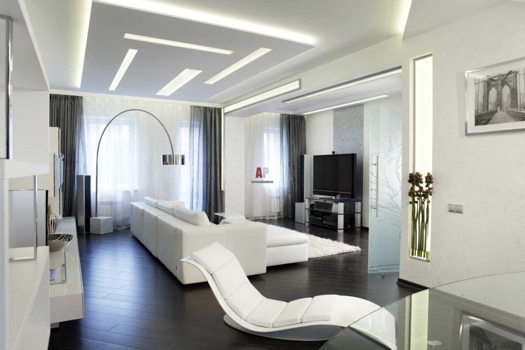Главный цвет в минималистской гостиной — белый и его оттенки
