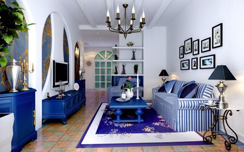 Гостиная в сине-голубом цвете с белыми стенами