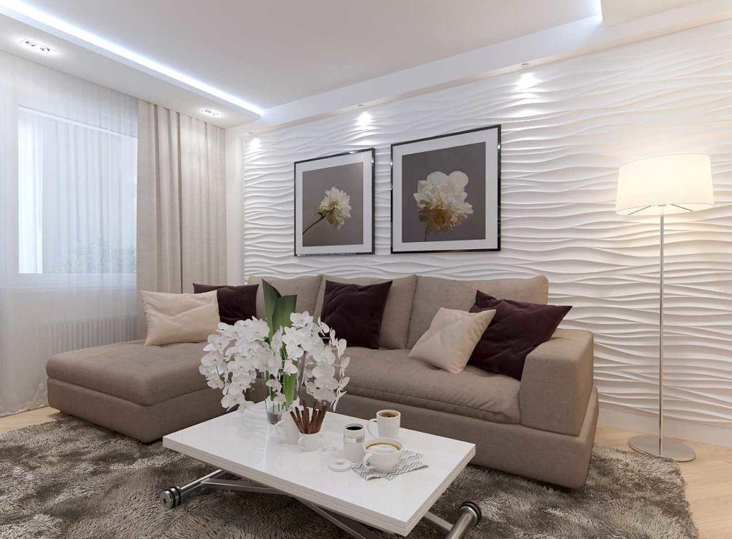 Картины на стене отлично дополнят интерьер гостиной