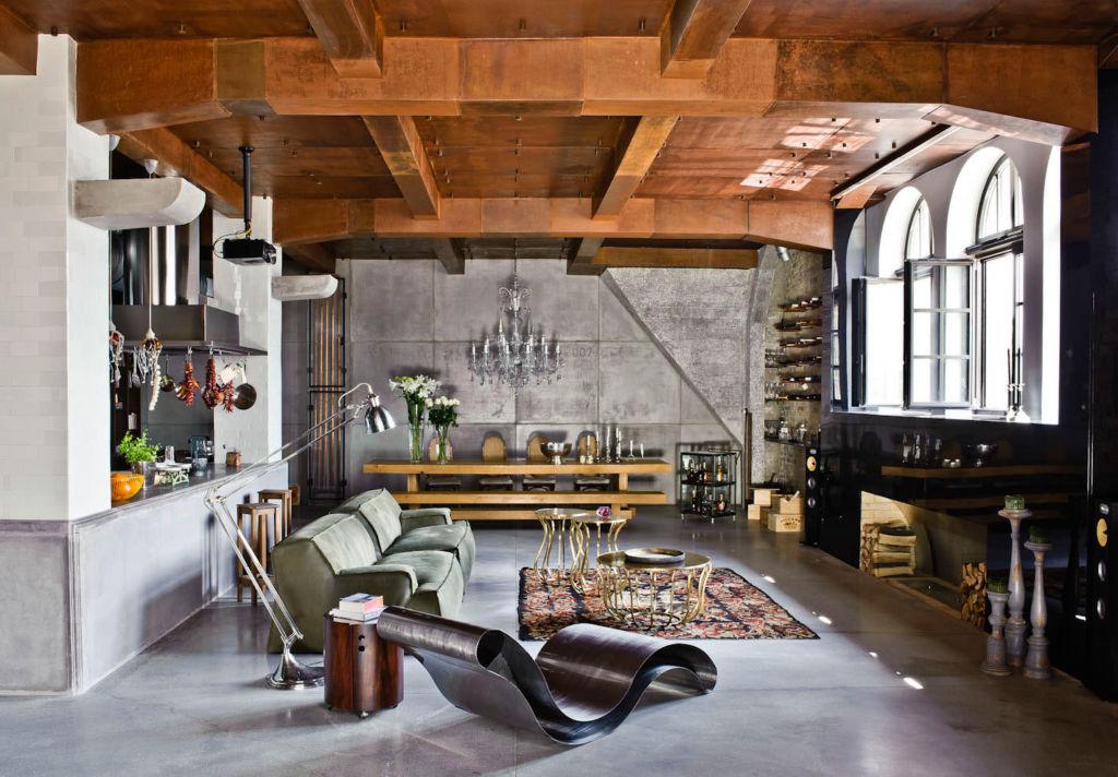Интерьер частного дома в стиле лофт