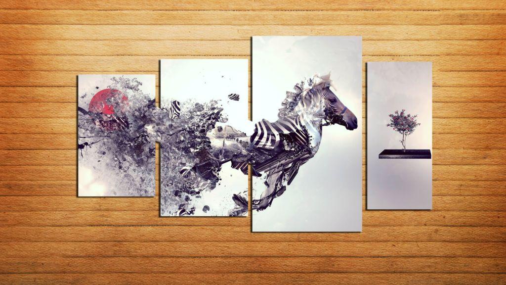 Картина лошадь абстракция