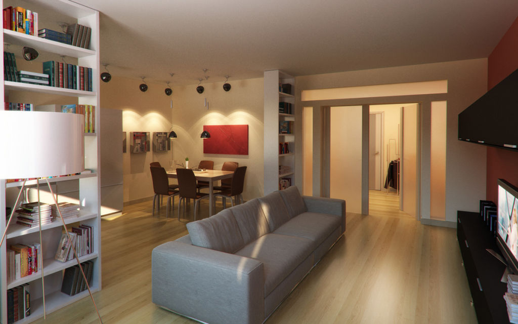 Разделение гостиной и кухни при помощи дивана