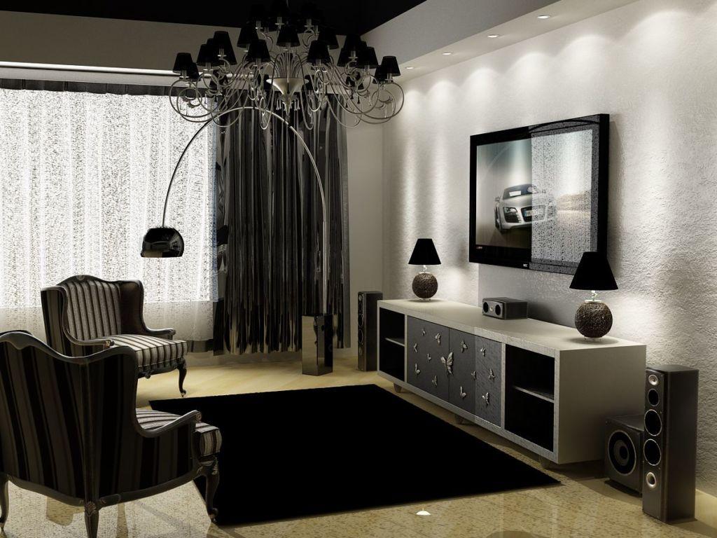 Яркий дизайн спальни в черно белом цвете
