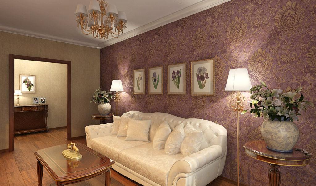 Гостиная со стеной винного цвета
