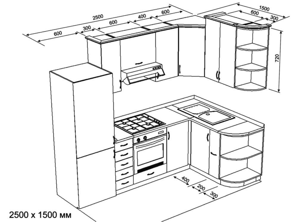Деталировка основных кухонных шкафов: чертежи и размеры