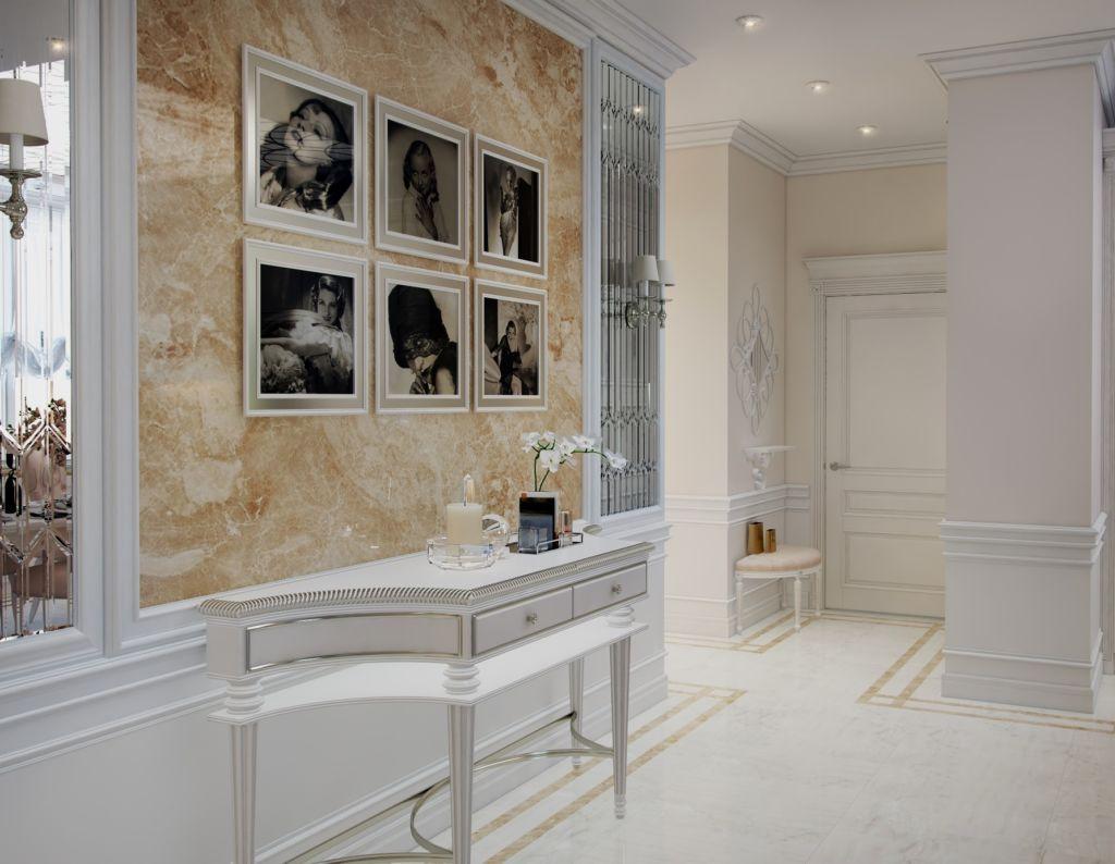 Стены можно украсить парой картин в прихожей в стиле минимализм