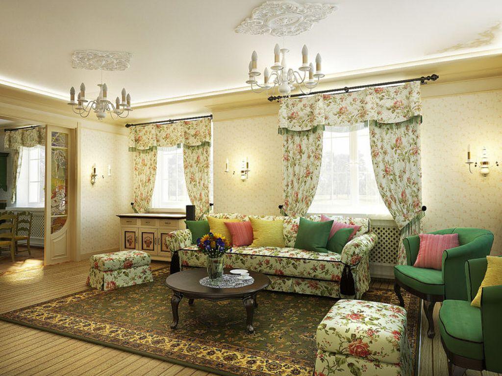 В стиле кантри к бежевой отделке можно добавить зеленые шторы