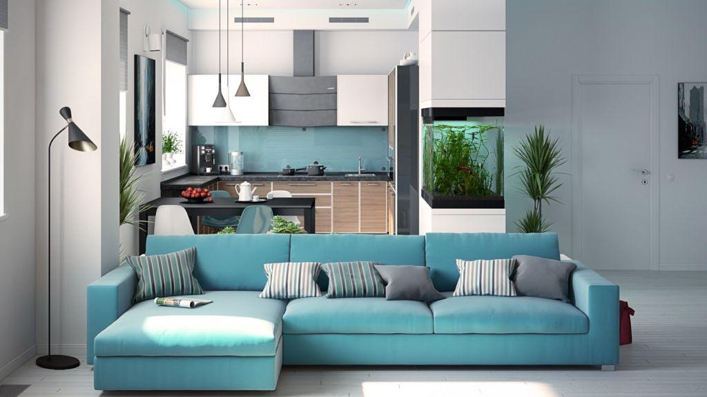 Магия бирюзового дивана в интерьере помещения
