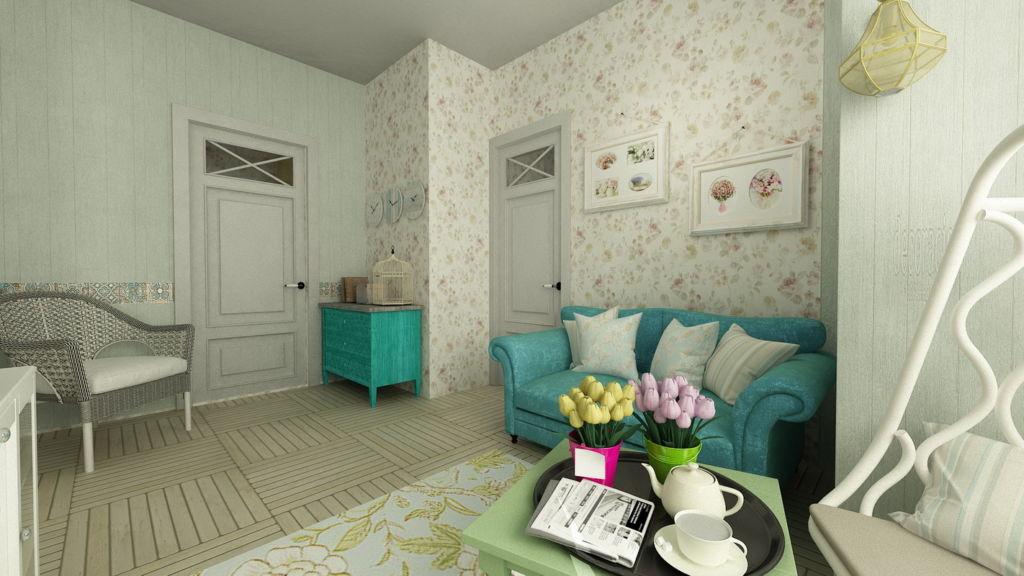 Бирюзовый диван, как будто создан для романтичного и тонкого французского стиля