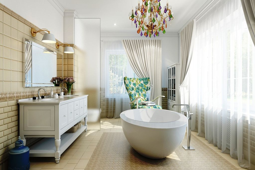 В большой ванной нужно продумывать отопление и освещение