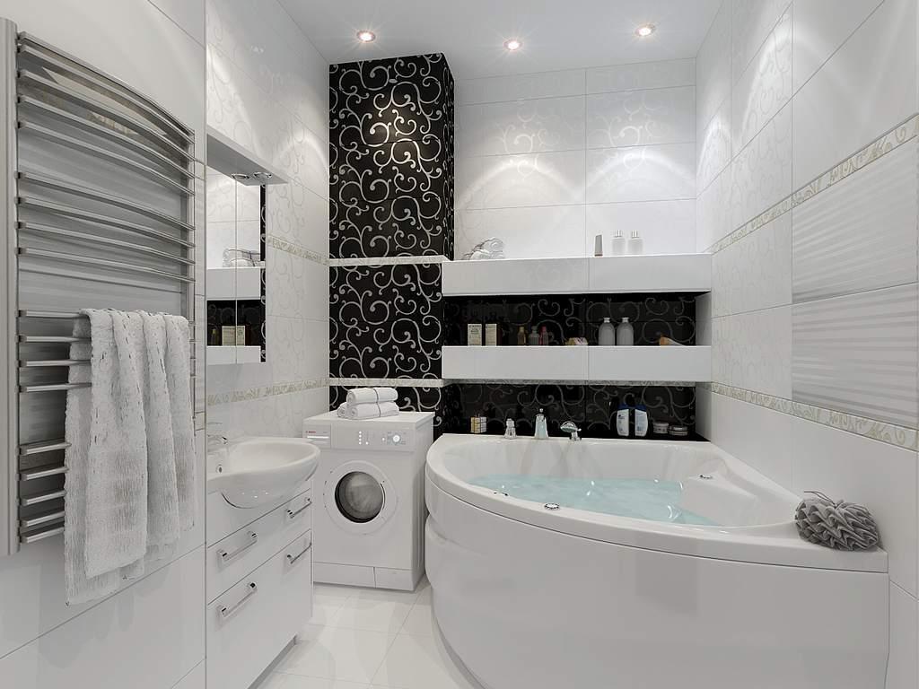 Ванная в черно-белом цвете требует большого внимания, как при создании, так и в процессе эксплуатации