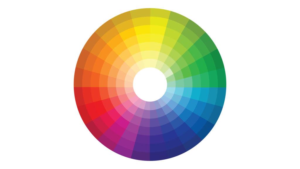 Круглая цветовой круг с шести цветов в различных оттенков