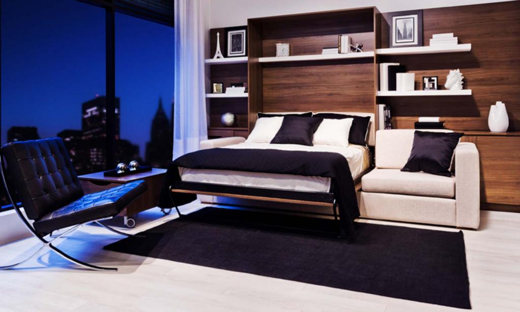 Выбирая подъемную кровать, встроенную в шкаф, обратите внимание на внешний вид мебели в закрытом состоянии