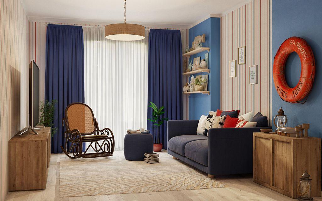 Спасательный круг над диваном в гостиной морского стиля
