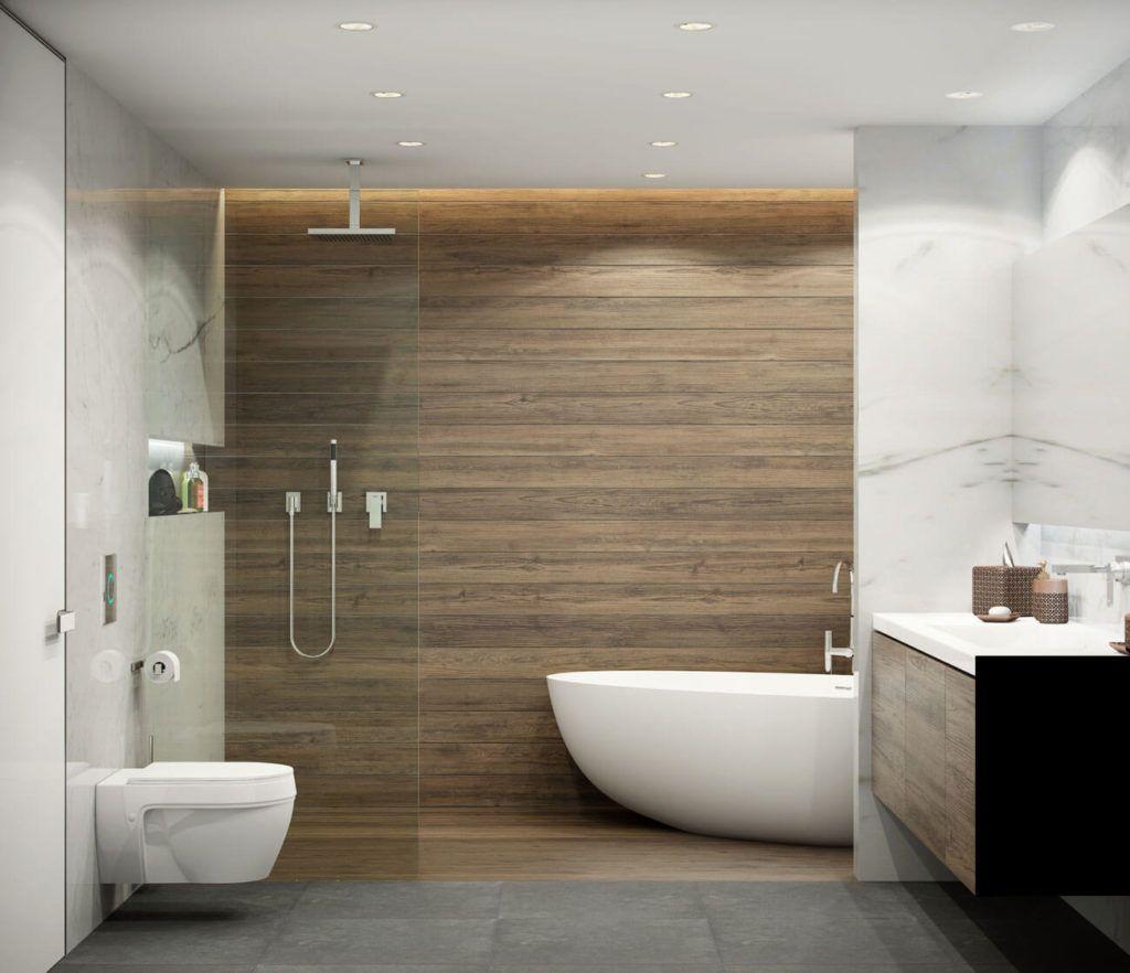 Керамическая плитка «под дерево» - популярный материал для оформления ванной комнаты