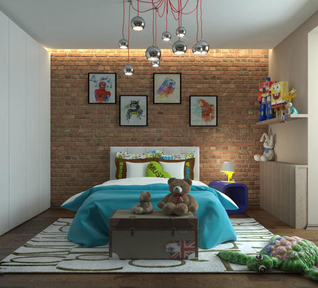 Индустриальный стиль лофт всегда можно разбавить яркими аксессуарами и фотографиями на стене