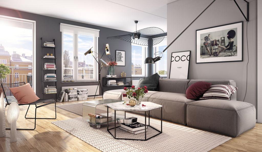 16 фото дизайна интерьера гостиной в серых тонах