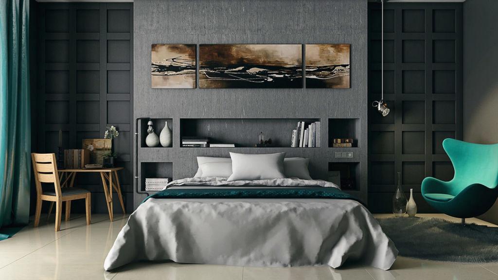 Дизайн спальни модерн в серых тонах