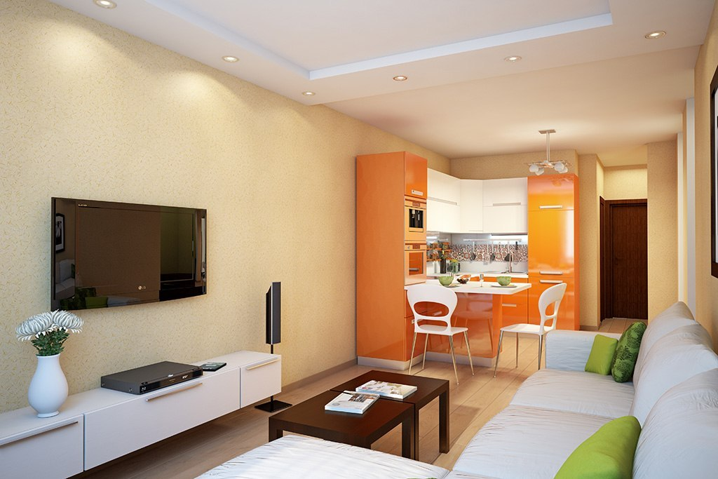 Зонирование цветом кухни и гостиной