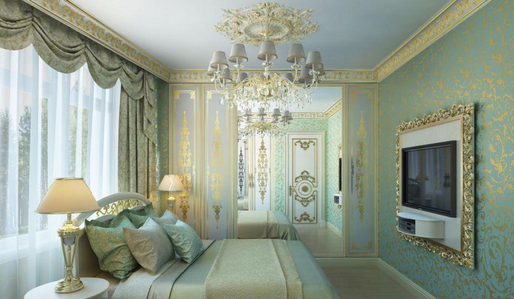 Дизайн спальни в классическом стиле с золотом и зеркалами