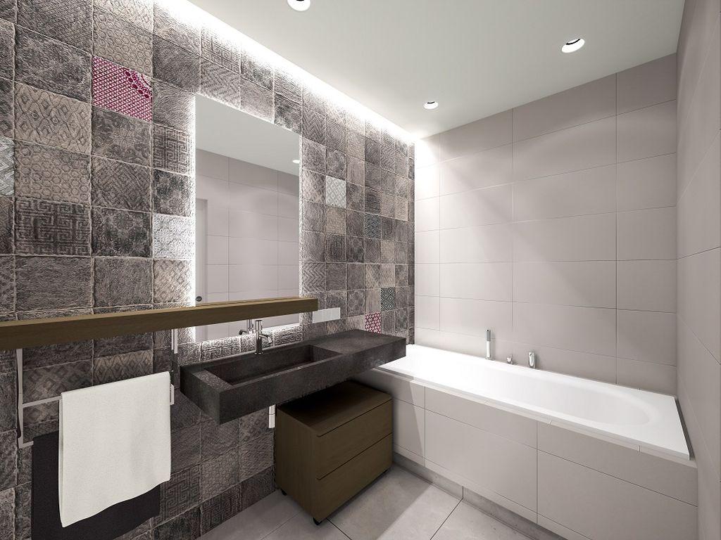 Минимализм подразумевает использование холодных оттенков в ванной