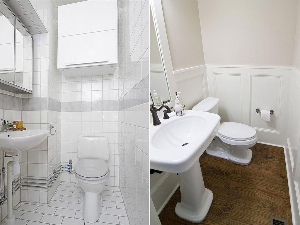 Даже простой белый интерьер туалета можно сделать стильным