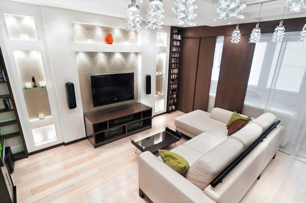 Как правило угловой диван ставят напротив телевизора