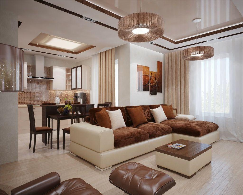 В большом зале или гостиной угловой вариант может стать своеобразным разграничителем пространства