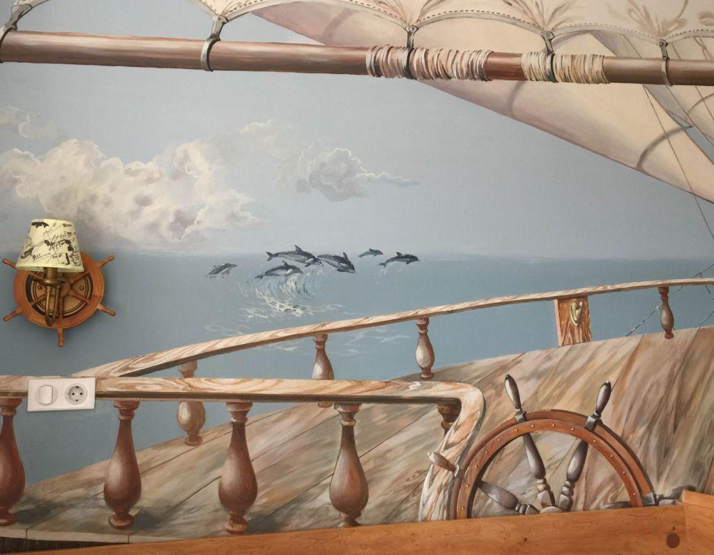 Рисунок на стене ручной работы в детской