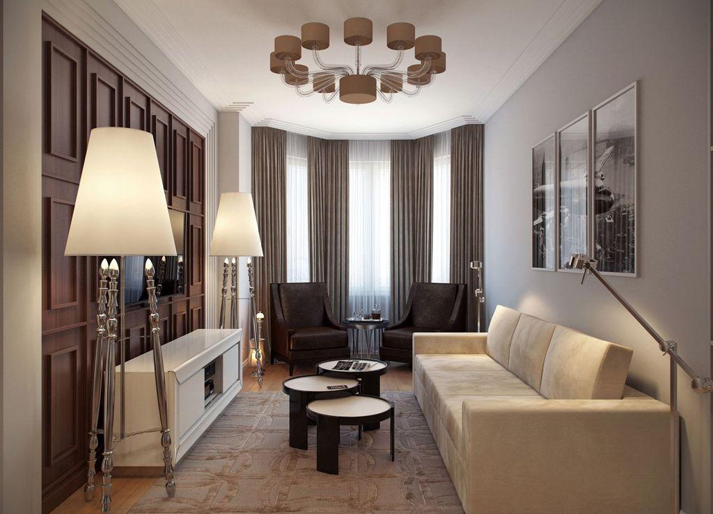 Для оформления гостиной с эркером хорошо подойдет и современная классика