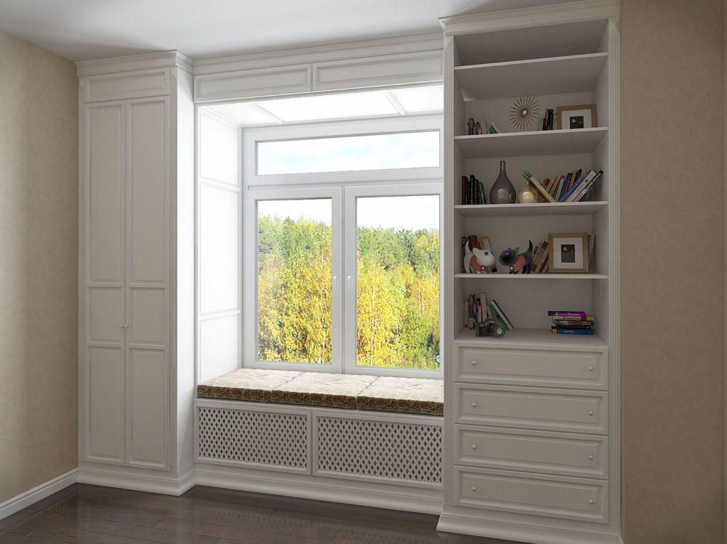 Если под окном расположены секции радиаторов, то фасадные планки можно сделать резными