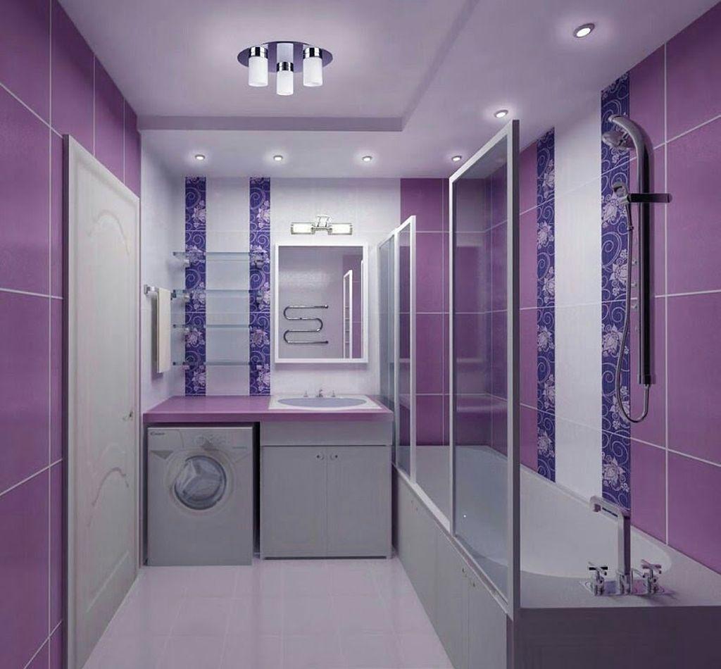 Освещение в душевой комнате в фиолетовых тонах должно быть достаточным