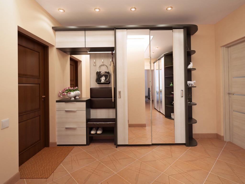 Комбинированные обувницы, совмещенные с гардеробной системой применяются в маленьких квартирах для экономии места