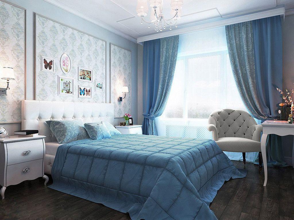 Достаточно бледные оттенки голубого подойдет для классического стиля
