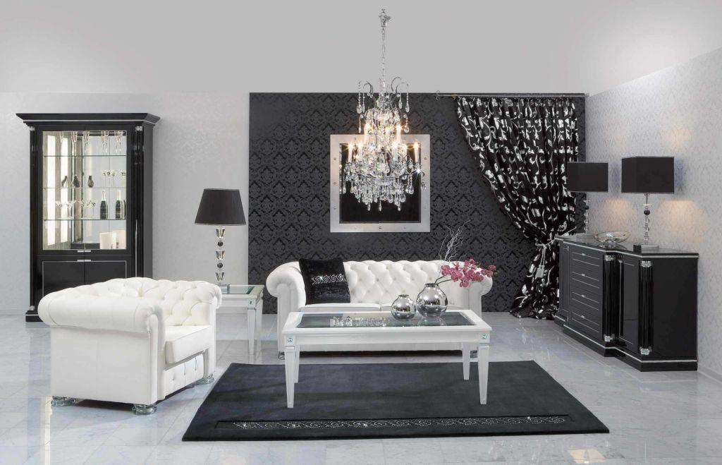 Гостиная в черно-белом стиле