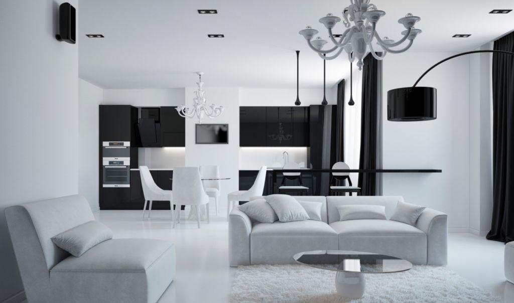 Гостиная и кухня в стиле минимализм