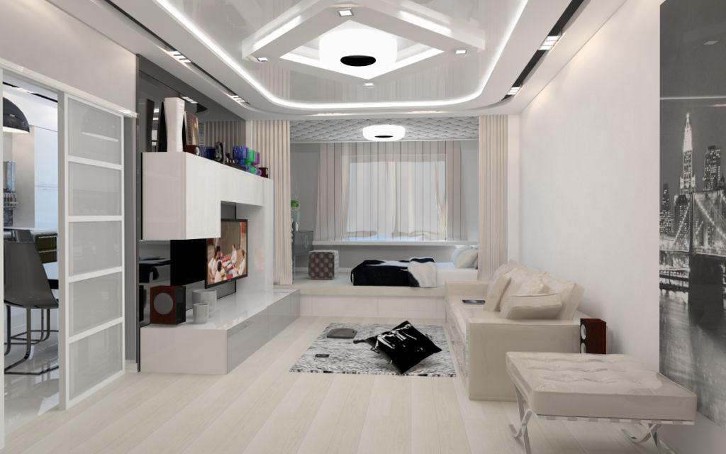 Дизайн маленькой гостинной в стиле хай тек