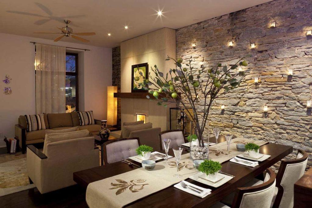 Современный стиль в декорировании стен гостиной