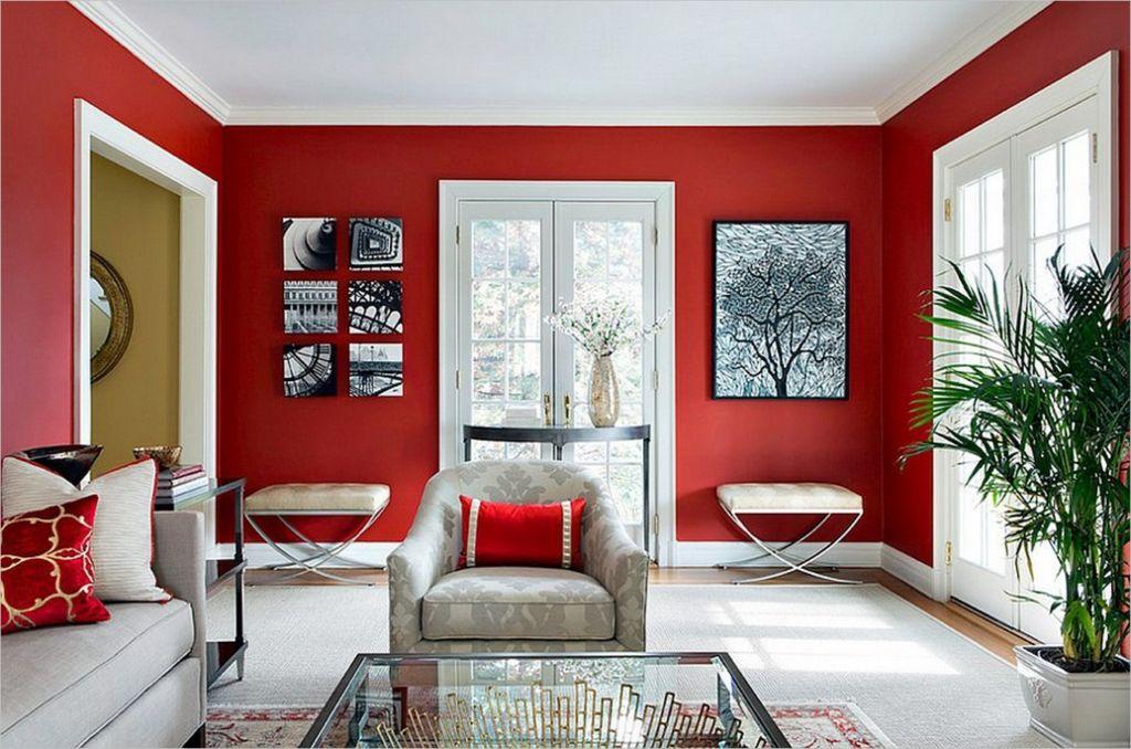 Интерьер гостиной в красно-белых тонах