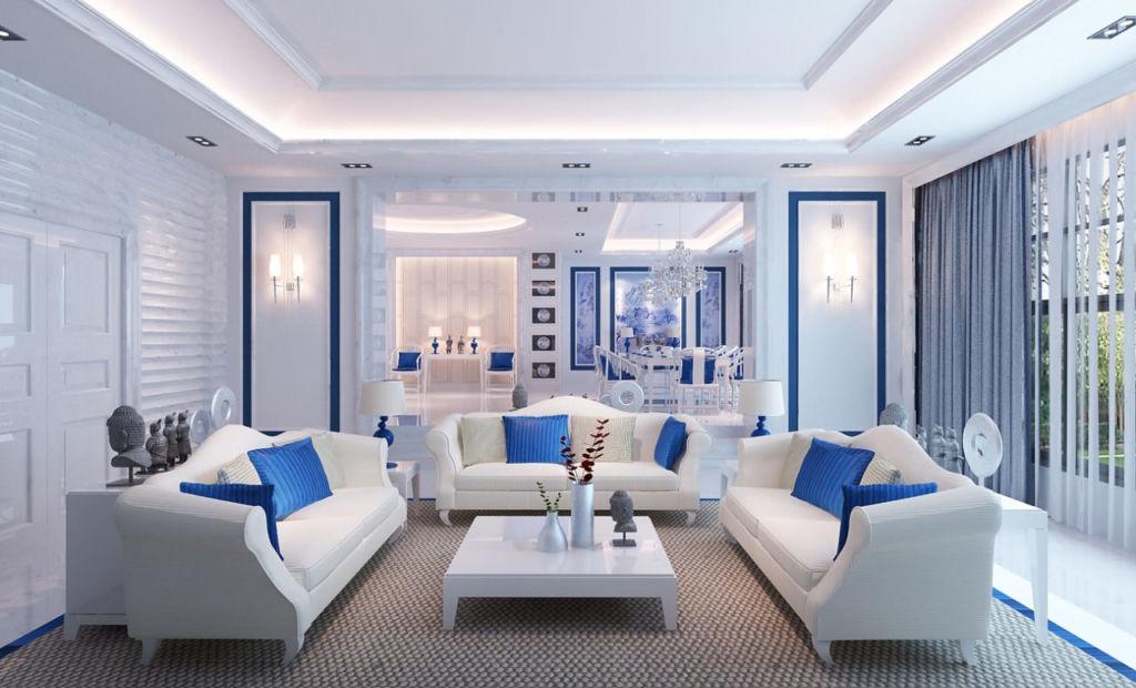 Как создать нескучный интерьер гостиной в голубых тонах