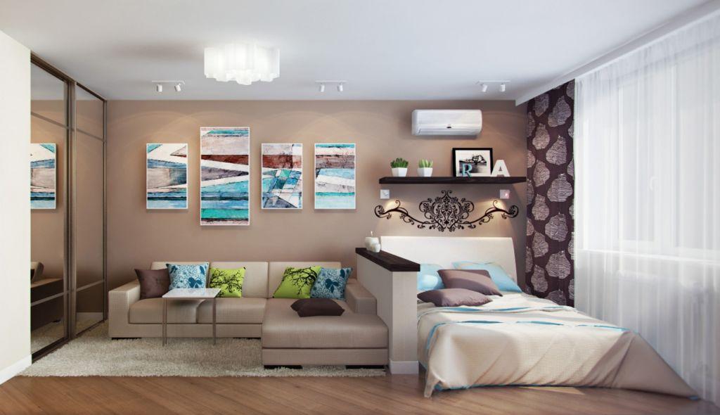 Спальня-гостиная на одном пространстве выглядит необыкновенно модно и стильно