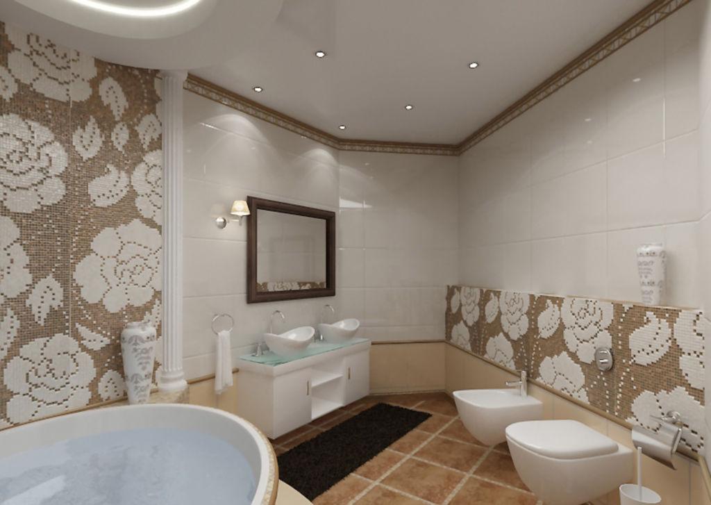 Натяжной потолок светлый потолок с встроенными светильниками для ванной комнаты