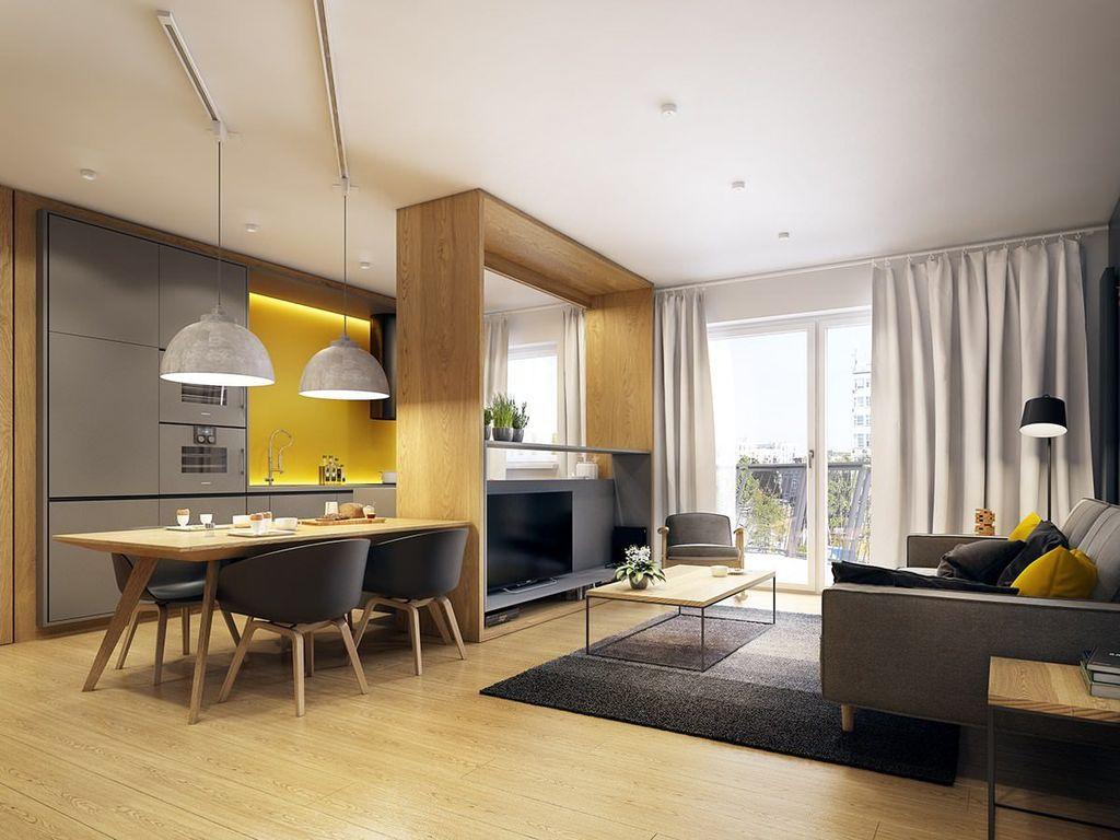 Цветовое зонирование подходит для небольших комнат