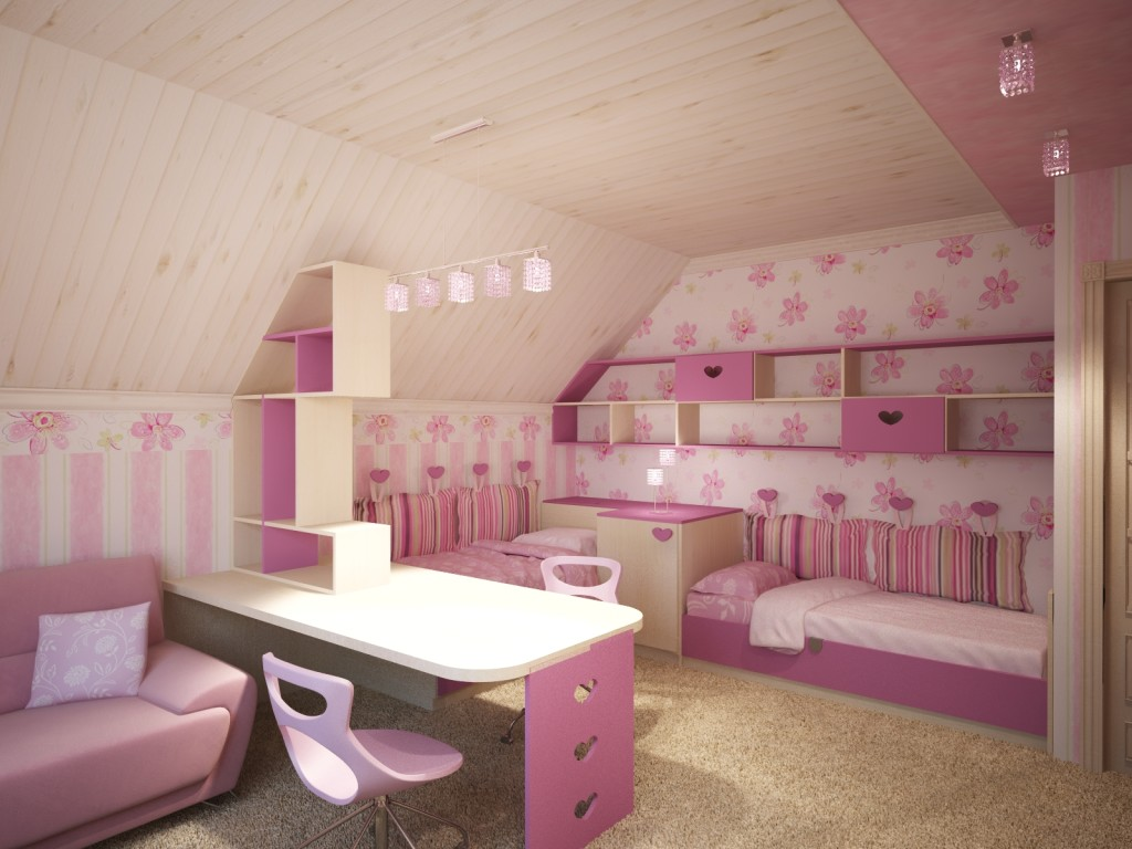 В розовом цвете спальня для девочки