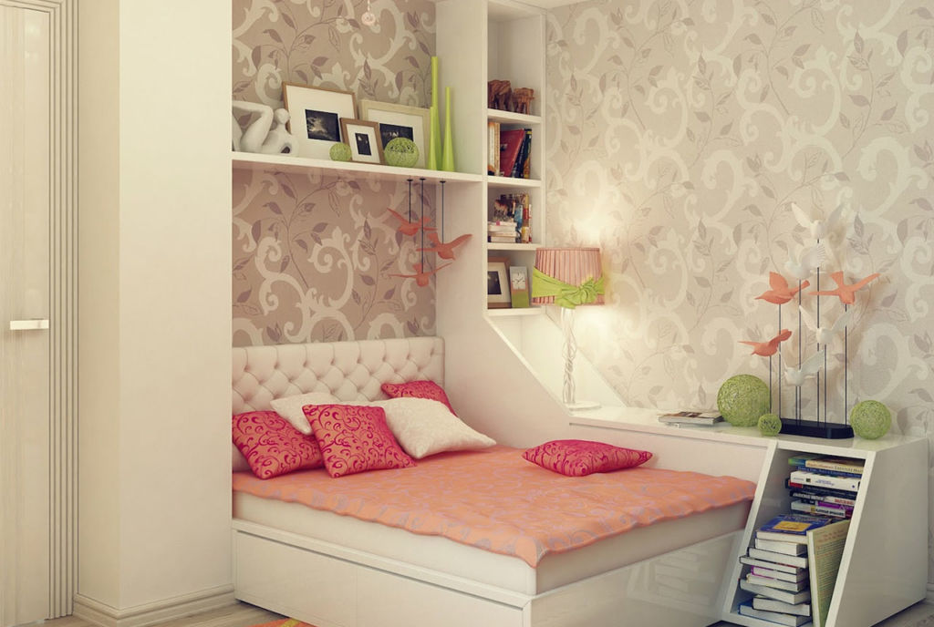 Комната серого цвета для девочки-подростка с розовым покрывалом