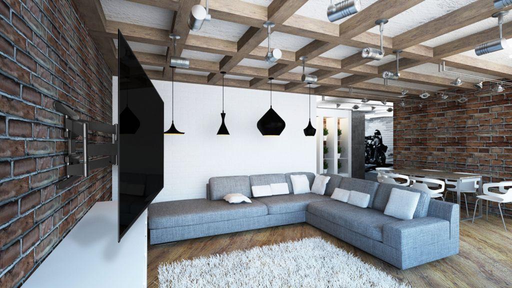 При выборе кронштейна стоит учитывать диагональ ТВ-панели и размер комнаты